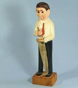Folk Art Cpa Tax Man Accountant Hand Carved Painted Vintage Bookkeeper Figure