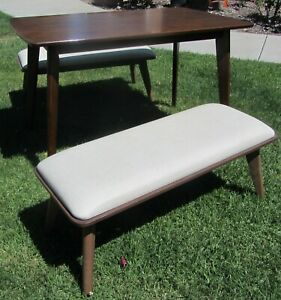 Cool Mid Century Modern Style Dining Table Two Benches Set Scandinavian Design
