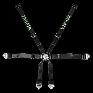 Genuine Takata Racing Harness 6 Piont 2 X 2 Inch Snap Black Fia Approve