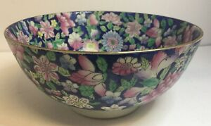 Antique Vintage Chinese Large Bowl Punch Bowl Floral Design Cobalt Blue