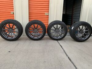 Used Vossen Cv1 5x120 Gunmetal Grey 22x10 5 4 Wheels With Tires