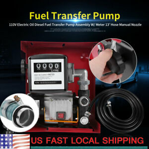 110v Electric Oil Diesel Fuel Transfer Pump Meter With 13 hose Manual Nozzle