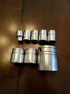 Snap On 3 8 1 2 Drive 8pt Sockets Lot Of 8