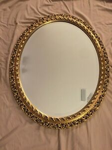 Large Vintage Oval Reticulated Gold Gilt Wood Frame Mirror 32 X 26