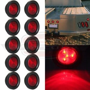 10pcs 2 5 Round Red Side Marker Clearance Lamp Tail Light For Truck Trailer 12v