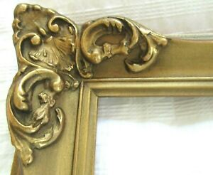 Vintage Fits 8 X10 Gold Gilt Picture Frame Wood Ornate Gesso Fine Art Country