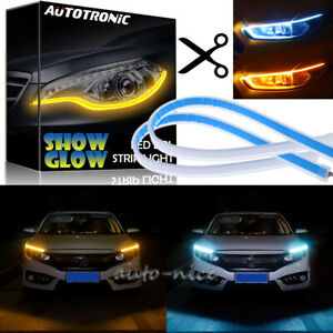2x Ice Blue Yellow Led Strip Light Daytime Running Sequential Turn Signal Light