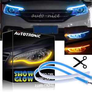2x 24 Led Light Strip Switchback Ice Blue Amber Sequential Solf Drl Turn Signal
