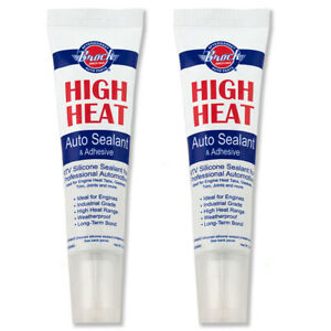 2 Tubes Brock High Temp Heat Automotive Rtv Silicone Gasket Sealant Adhesive