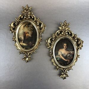 Pair Of Vintage Italy Plastic Gold Ornate 7 Oval Picture Frame Rococo Regency