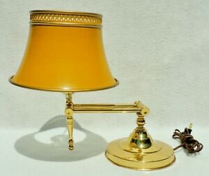 Small Antique Vtg Mid Century Brass Yellow Tole Shade Student Desk Table Lamp