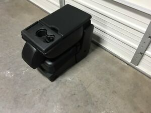 2015 2019 Ford F150 F250 F350 Center Jump Seat Console Black Leather Cup Holder