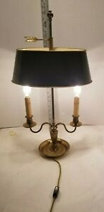 Empire Etched Bronze Bouillotte Lamp Late 19th Early 20th Adjustable Tole Shade