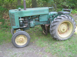 John Deere M Farm Tractor With Plow And Disk Runs