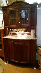 Antique Carved Solid Oak Marble Top Credenza Sideboard China Cabinet Two Pieces