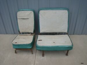 Vintage Original 1956 Willys Jeep Wagon Seats For Restoration Or Use Htf