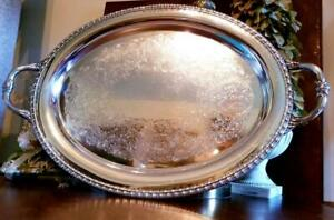 Antique Rogers Silverplate Large Butler S Serving Platter Tray Handled Oval 1781