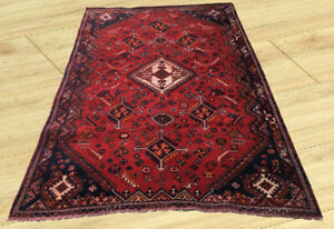 Vintage Hand Knotted Persian Pictorial Sherazi Sheraz Area Rug 6x9 Ft