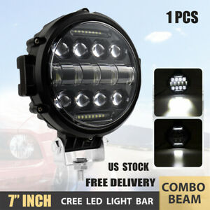 1x 7inch 85w Led Work Lights Bull Bar Driving Pods Round Atv Bike Truck Off Road