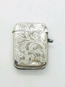 Antique English 1911 Sterling Silver Match Safe Vesta Case Watch Fob Chatelaine