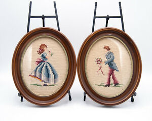 Antique Victorian Needlepoint Tapestry Set Two C19th Petit Point Gesso Frames
