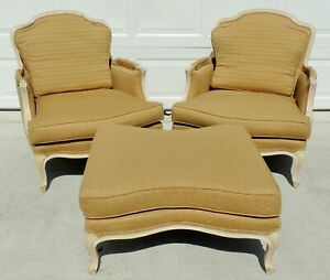 Pair Large Antique Vtg French Bergere Upholstered Club Lounge Arm Chairs Ottoman