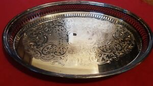 Beautiful Vintage Reed Barton 14 Gallery Oval Silver Plated Serving Tray