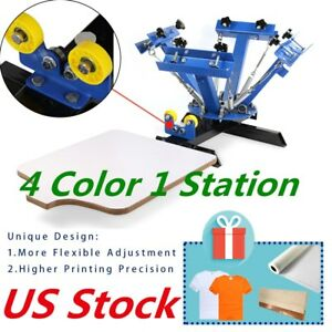 Us Stock 4 Color 1 Station Screen Printing Press Machine Silk Screening Pressing