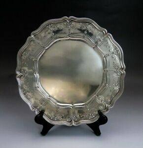 Gorham Durgin Decorative Engraved Sterling Silver Charger Or Service Plate