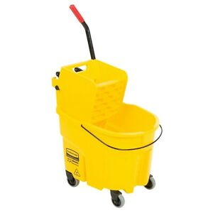 Used Rubbermaid Fg758088yel Wavebrake 35 Qt Yellow Mop Bucket With Side Press