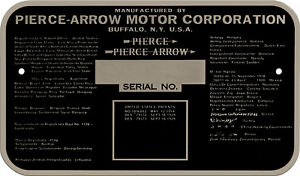 Pierce Arrow Car Truck Bus Acid Etched Data Plate Emblem 1920s 1930s