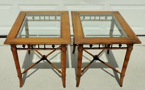 Pair Antique Vtg Faux Bamboo Wood Beveled Glass Top Side End Tables 5685