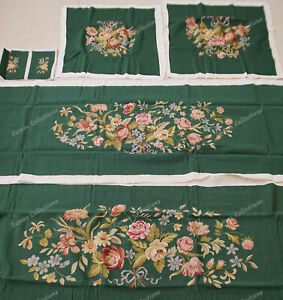 Vtg Reproduction Full Blooming Floral Dark Green Chair Sofa Cover Sets Handmade