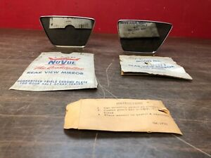 Vintage Ford Chevy Dodge Ratrod Outside Body Mount Mirrors Pair Nos Nuvue 519