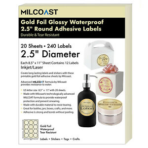 Milcoast Gold Foil Glossy Waterproof 2 5 Round Circle Labels 20 Sheets