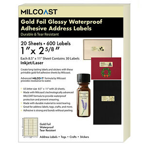 Milcoast Gold Foil Glossy Waterproof 1 X 2 5 8 Address Labels 20 Sheets