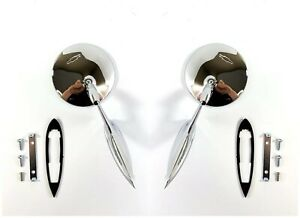Pair Round Bowtie Teardrop Door Side Mirrors W Hardware For 1963 65 Chevy Car
