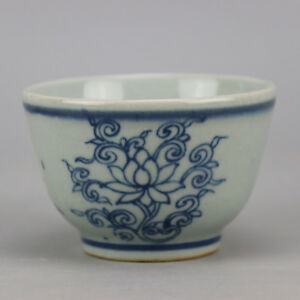 Old Chinese Beautiful Ming Dyn Wanli Blue And White Porcelain Tea Cup B16