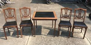 Vtg Leg O Matic Wooden Folding Table 4 Chairs Mid Century Shield Back Wood Guc
