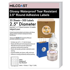 Milcoast Glossy Waterproof Tear Resistant 2 5 Round Circle Labels 300 Labels