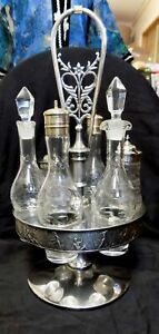 Antique Silver Plate Cruet Condiment Set Etched Glass Roger Smith