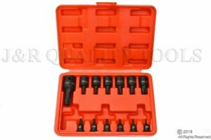 13pc Impact Torx Star Bit Socket Set W 1 4 3 8 And 1 2 Drive