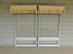 Thomasville Allegro Regency Style Faux Bamboo Twin 1 4 Tester Headboard A Pair