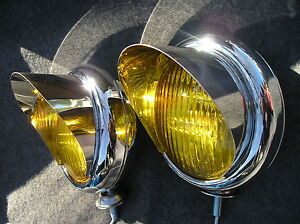 Pair Small Vintage Style Amber Color Fog Lights With Visors 12 volts