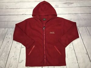 Vintage Coca Cola Fleece Hoodie Sweater Mens Large Zip Up Red Vtg 90s