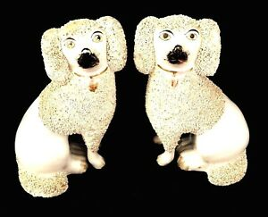 Matched Pair Mid 19thc Staffordshire Porcellaneous Seated Confetti Poodles 1850s