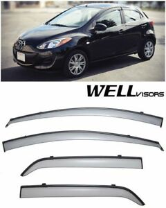 Wellvisors Black Trim Side Window Visors Rain Guard For 11 15 Mazda 2 Hatchback