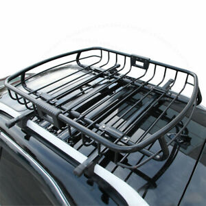 Fit 05 08 Jeep Top Storage Steel Black Roof Rack Cargo Luggage Carrier Basket