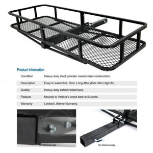 Universal Tail Hitch Mount Rack Luggage Basket Cargo Carrier Storage For Jeep
