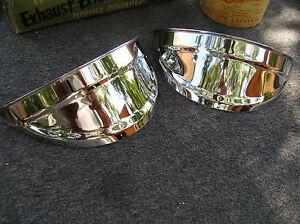 New Pair Of Chrome Vintage Style Head Light Visors